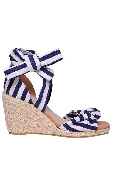 Sandale Top Secret albastre-inchis casual din bumbac neelastic cu impletituri pe platforma