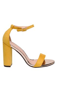 Sandale Top Secret galbene elegante din piele ecologica cu toc gros