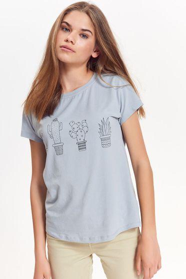 Tricou Top Secret gri-deschis casual cu croi larg din bumbac neelastic cu print