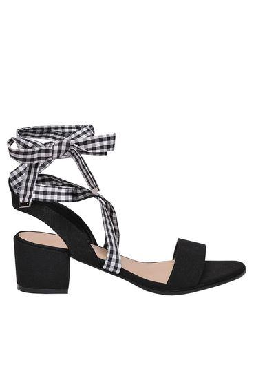 Sandale Top Secret negre casual din piele ecologica cu toc patrat gros