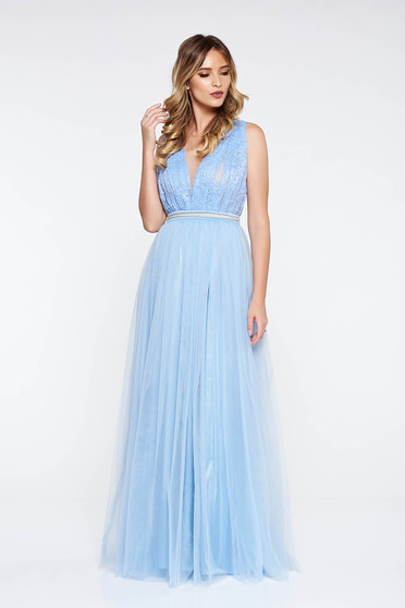 Rochie LaDonna albastra-deschis de ocazie in clos din tul si dantela cu aplicatii cu margele
