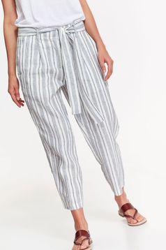 Pantaloni Top Secret albe casual conici cu talie inalta din in cu buzunare