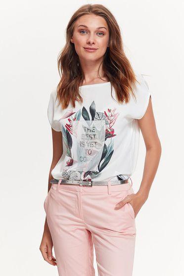 Tricou Top Secret alb casual cu croi larg din material vaporos cu imprimeuri florale