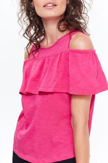 Bluza dama Top Secret roz casual cu croi larg din bumbac neelastic cu volanase