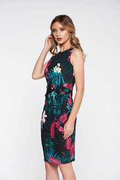Rochie neagra eleganta tip creion din material elastic cu imprimeuri florale