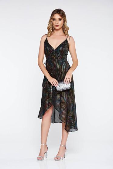 Rochie neagra eleganta asimetrica din material vaporos si transparent captusita pe interior