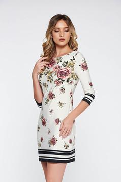 Rochie alba de zi din material subtire elastic cu imprimeuri florale