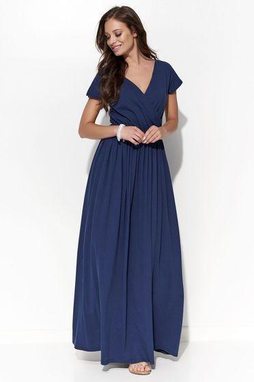 Rochie Folly albastra-inchis casual cu croi larg cu decolteu in v din bumbac cu elastic in talie