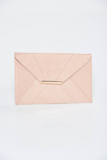 Geanta dama rosa plic din piele ecologica cu accesoriu metalic