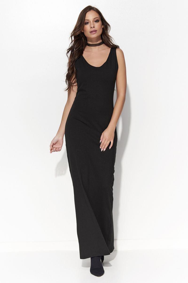 Rochie Folly neagra casual rochii maxi cu decolteu fara maneci din bumbac cu un croi mulat thumbnail