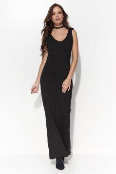 Rochie Folly neagra casual rochii maxi cu decolteu fara maneci din bumbac cu un croi mulat
