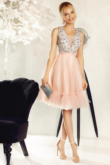 Rochie Fofy rosa de ocazie din tul si dantela brodata cu efect 3D