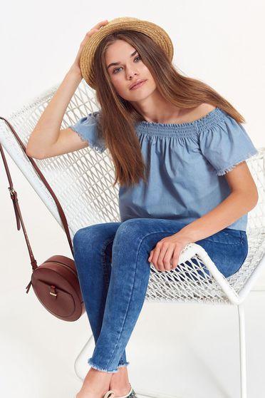 Bluza dama albastra Top Secret casual cu croi larg din material neelastic cu umeri goi