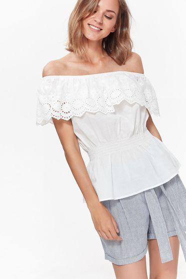 Bluza dama Top Secret alba casual cu croi larg din bumbac cu elastic in talie si volanase