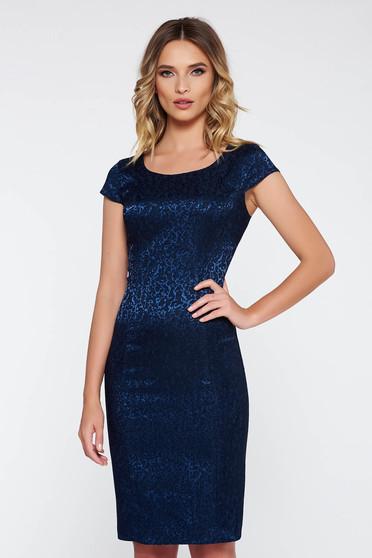 Rochie albastra-inchis eleganta tip creion din jaquard cu maneci scurte