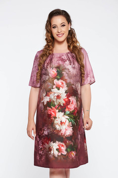 Rochie mov eleganta cu croi larg din material satinat cu imprimeuri florale