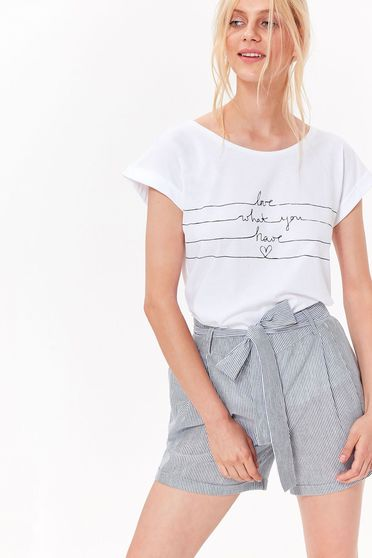 Bluza dama Top Secret alba casual cu croi larg din bumbac cu print