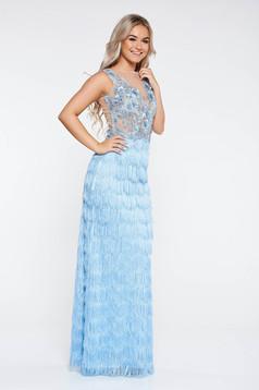 Rochie LaDonna albastra-deschis de ocazie din material neelastic cu franjuri si dantela cu aplicatii cu margele