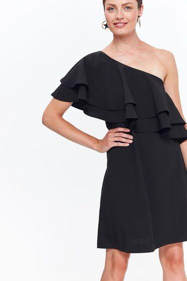 Rochie Top Secret neagra eleganta cu un croi evazat din material usor elastic cu volanase