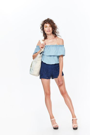 Bluza dama Top Secret albastra casual cu croi larg din denim cu umeri goi si volanase