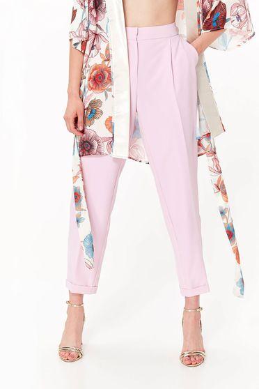 Pantaloni Top Secret rosa office conici cu talie medie din material usor elastic cu buzunare