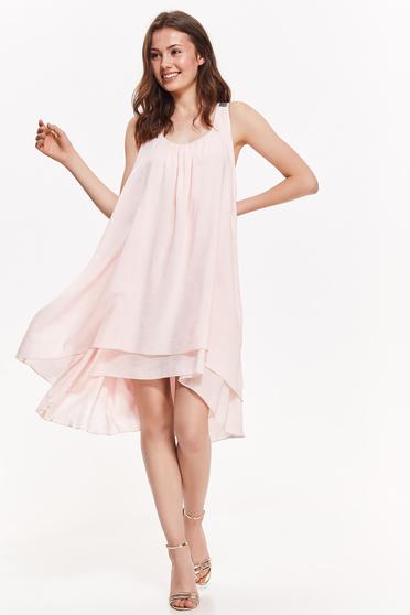 Rochie Top Secret rosa eleganta asimetrica cu croi larg din material vaporos captusita pe interior