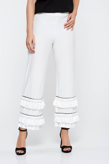 Pantaloni albi eleganti cu talie inalta din material neelastic cu ciucuri