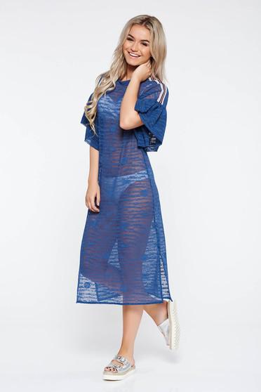 Rochie StarShinerS albastra casual cu croi larg din material usor elastic transparent cu volanase la maneca