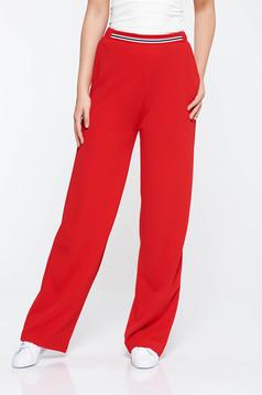 Pantaloni StarShinerS rosii casual evazati cu talie medie din material elastic cu buzunare
