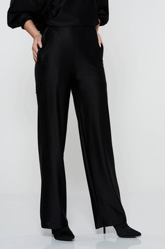 Pantaloni StarShinerS negri casual evazati cu talie inalta din material elastic cu buzunare