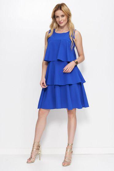 Rochie Makadamia albastra eleganta in clos din material usor elastic cu volanase fara maneci