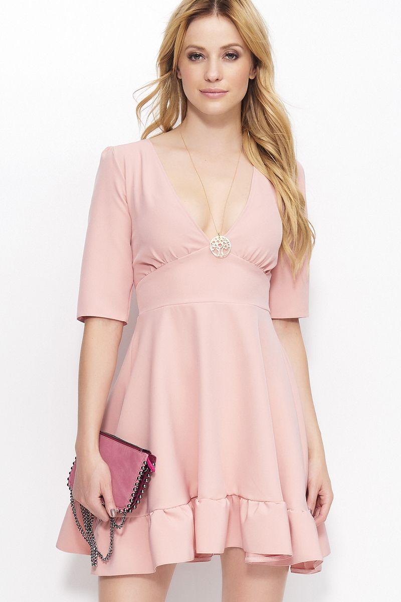 Rochie Makadamia rosa eleganta cu decolteu cu maneca 3/4 scurta material subtire