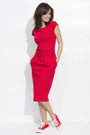 Rochie Numinou rosie casual cu un croi usor evazat din material usor elastic cu maneci scurte
