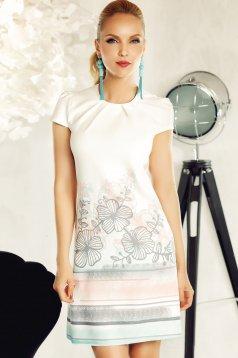 Rochie Fofy alba eleganta cu croi in A din material usor elastic cu imprimeuri florale