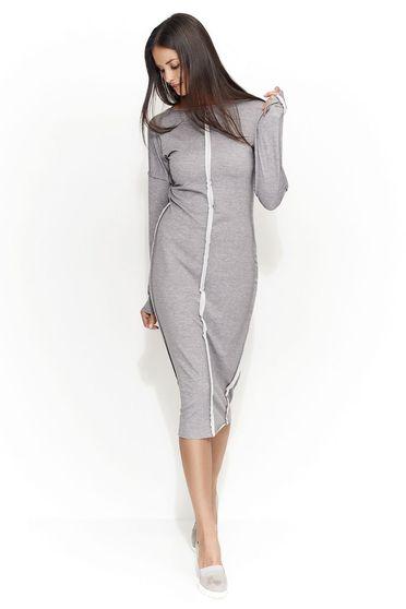 Rochie Numinou gri casual cu un croi drept din material usor elastic cu maneca lunga