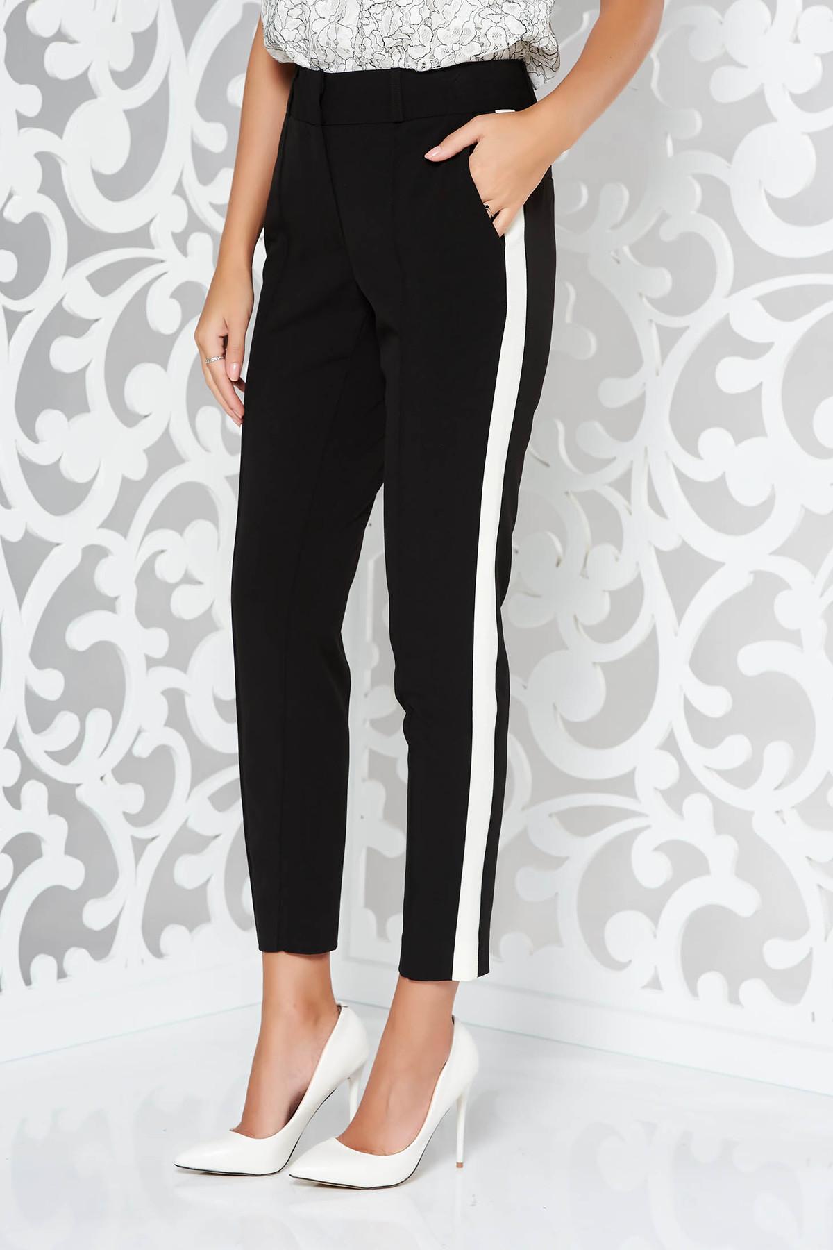 Pantaloni StarShinerS negri office cu un croi mulat din stofa subtire usor elastica cu buzunare