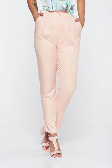Pantaloni piersica conici din material neelastic cu talie inalta si cu buzunare