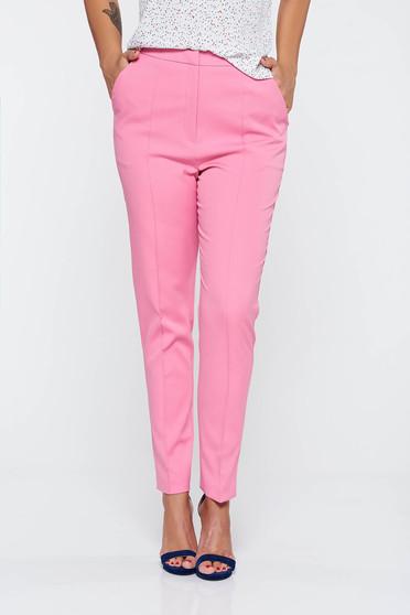 Pantaloni roz eleganti lunga conici cu buzunare cu talie medie din stofa usor elastica