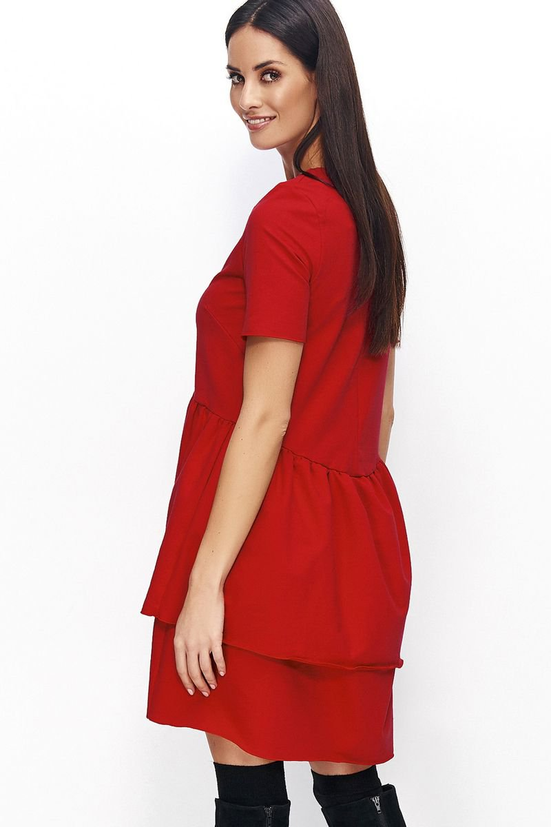 Rochie Numinou rosie de zi cu croi larg din material usor elastic cu volanase