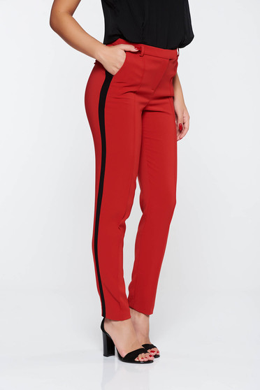 Pantaloni StarShinerS rosii office conici cu talie medie din stofa subtire usor elastica cu buzunare