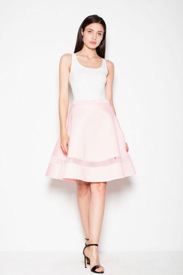 Fusta Venaton rosa eleganta in clos din material usor elastic cu talie inalta