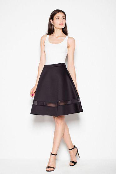 Fusta Venaton neagra eleganta in clos din material usor elastic cu talie inalta