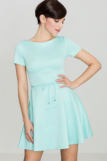 Rochie Lenitif mint eleganta in clos din material usor elastic accesorizata cu cordon