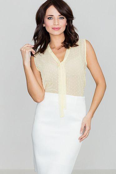 Bluza dama Lenitif galbena eleganta cu croi larg din material vaporos si transparent fara maneci