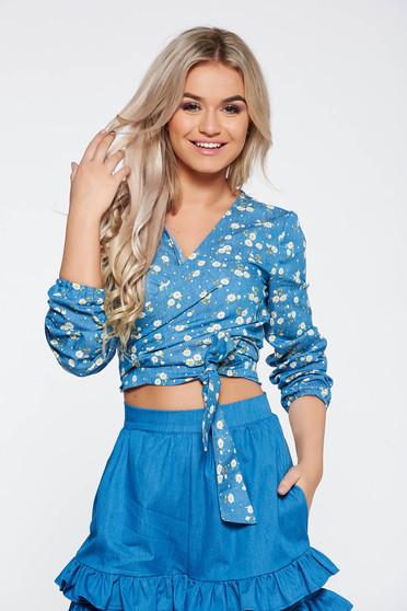 Bluza dama StarShinerS albastra casual cu decolteu din bumbac neelastic cu imprimeuri florale