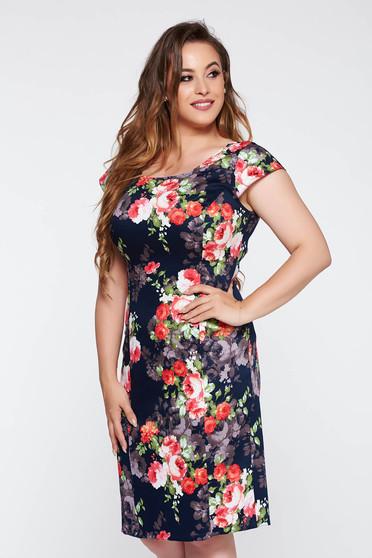 Rochie albastra-inchis eleganta tip creion bumbac usor elastic cu imprimeuri florale