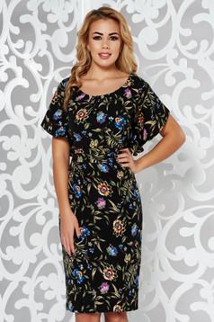 Rochie neagra eleganta cu un croi mulat din material usor elastic cu imprimeuri florale