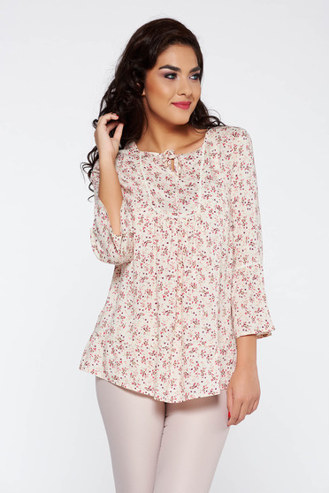 Bluza dama rosa casual cu maneca 3/4 material subtire cu croi larg cu imprimeu floral