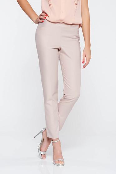 Pantaloni rosa eleganti lunga conici din material usor elastic cu talie medie cu buzunare