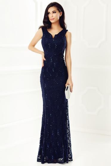 Rochie albastra-inchis de ocazie tip sirena din dantela captusita pe interior cu decolteu in v